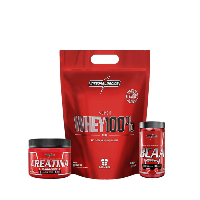 KIT INTEGRAL: Super Whey 907g + Creatina 150g + BCAA 2044mg 180 Caps.