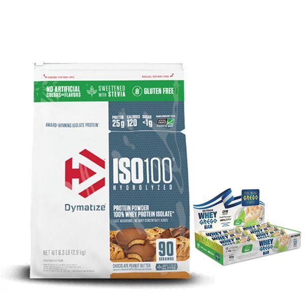 KIT: ISO 100 90 Doses + Whey Grego Bar 12 Uni.