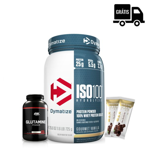 KIT: ISO 100 HYDROLYZED 1.6LB (725G) - DYMATIZE + GLUTAMINA 300G (BLACK LINE) - OPTIMUM NUTRITION + 2 GOLD BAR 50G - MAX TITANIUM