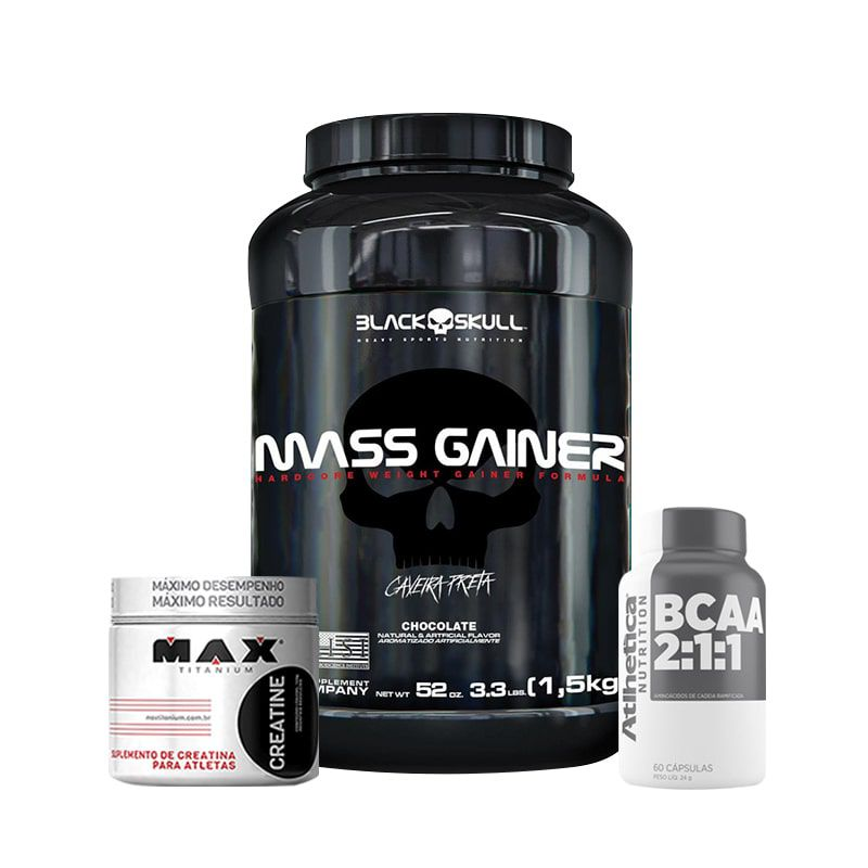 KIT: Mass Gainer 1,5Kg + Creatine 100g + BCAA 2:1:1 60 Caps.