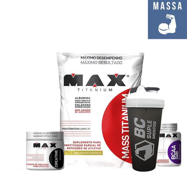 Kit Mass Titanium 3Kg + BCAA 2400 100 Caps. + Creatina 150g + Brinde