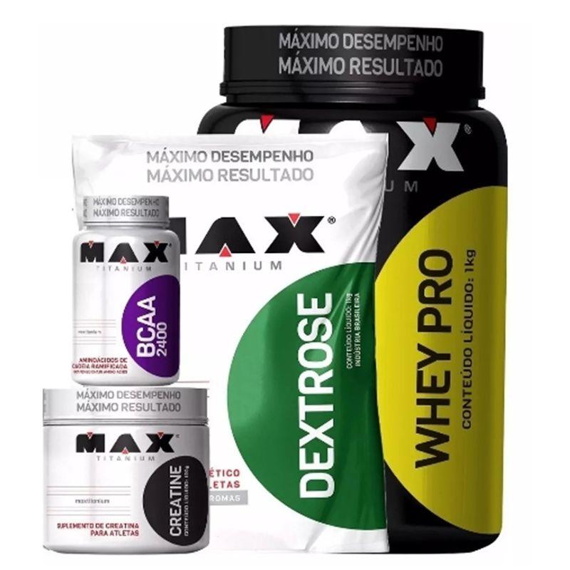KIT MAX TITANIUM: Whey Pro 1Kg + BCAA 2400 60 Caps. + Creatine 100g + Dextrose 1Kg
