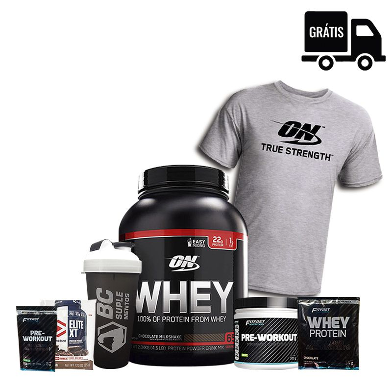 KIT: On Whey 2kg Black Line + Pre-Workout 300g + Camisa Optimum + Coqueteleira + 3 Brindes