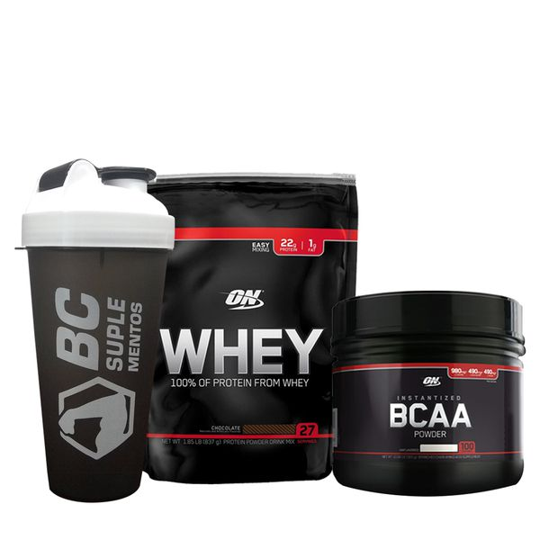 KIT: On Whey 837g + BCAA Black Line 300g + Coqueteleira BC