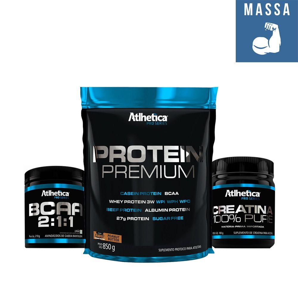 KIT: Protein Premium 850g + Creatine 100g + BCAA 2:1:1 210g