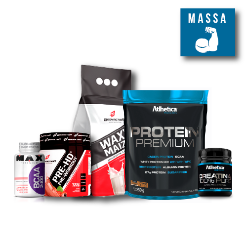KIT: Protein Premium 850g + Wazy Maize 1Kg + PRE-HD 100g + Creatine 100g + BCAA 2400 60 Caps.