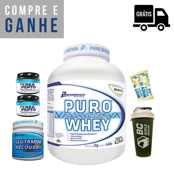 KIT: Puro Whey 2kg + Glutamina 300g + 2x Creapto Performance 150g (300g total) + Brindes