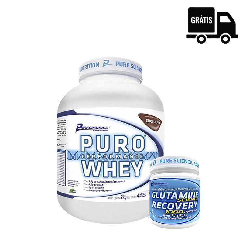 KIT: Puro Whey 2Kg + Glutamina 300g