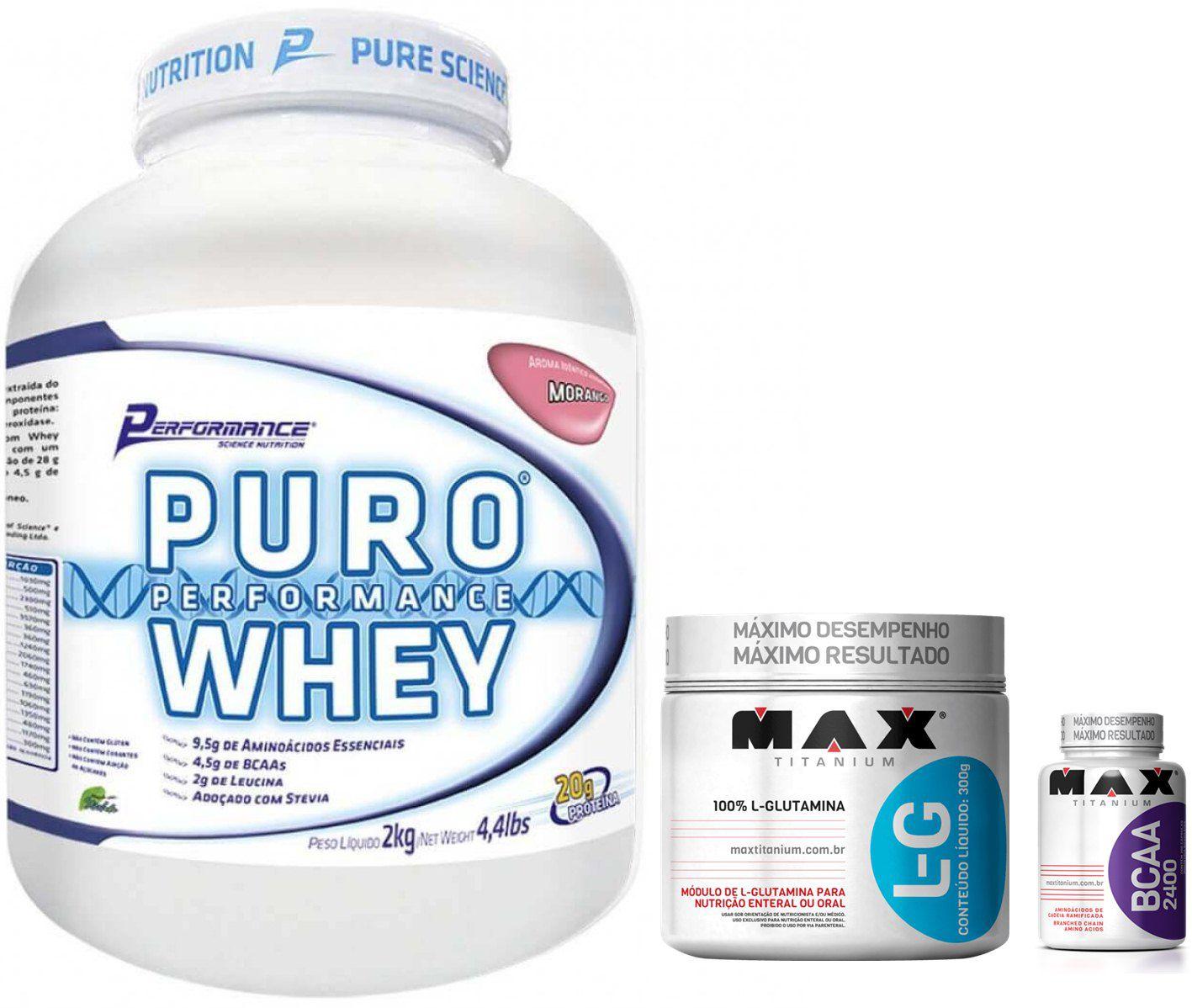 KIT: Puro Whey 2Kg + L-Glutamine 300g + BCAA 2400 60 Caps.