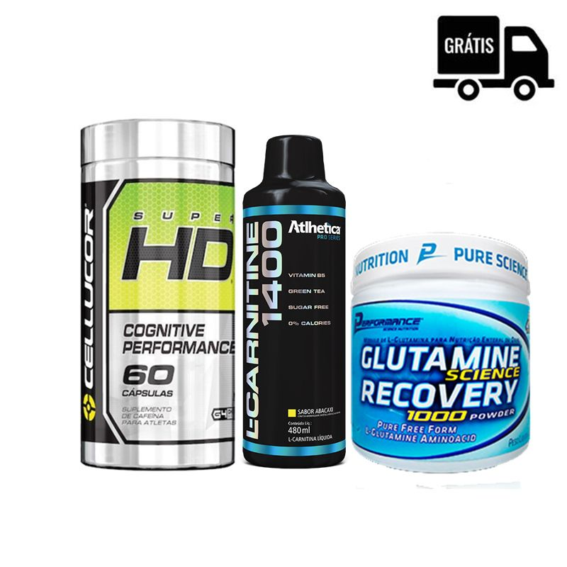 KIT: Super HD 60 Caps. + L-Carnitine 1400 480ml + Glutamine 300g