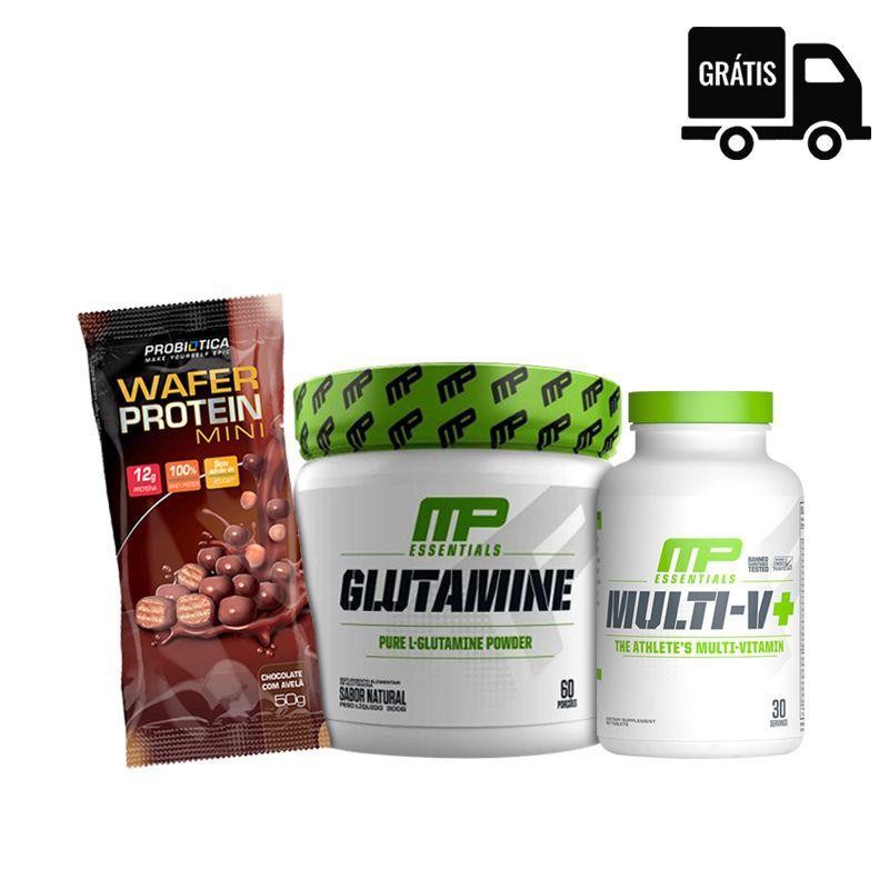 KIT: Glutamine 300g + Multi V+ 60 Caps + Wafer Protein Mini