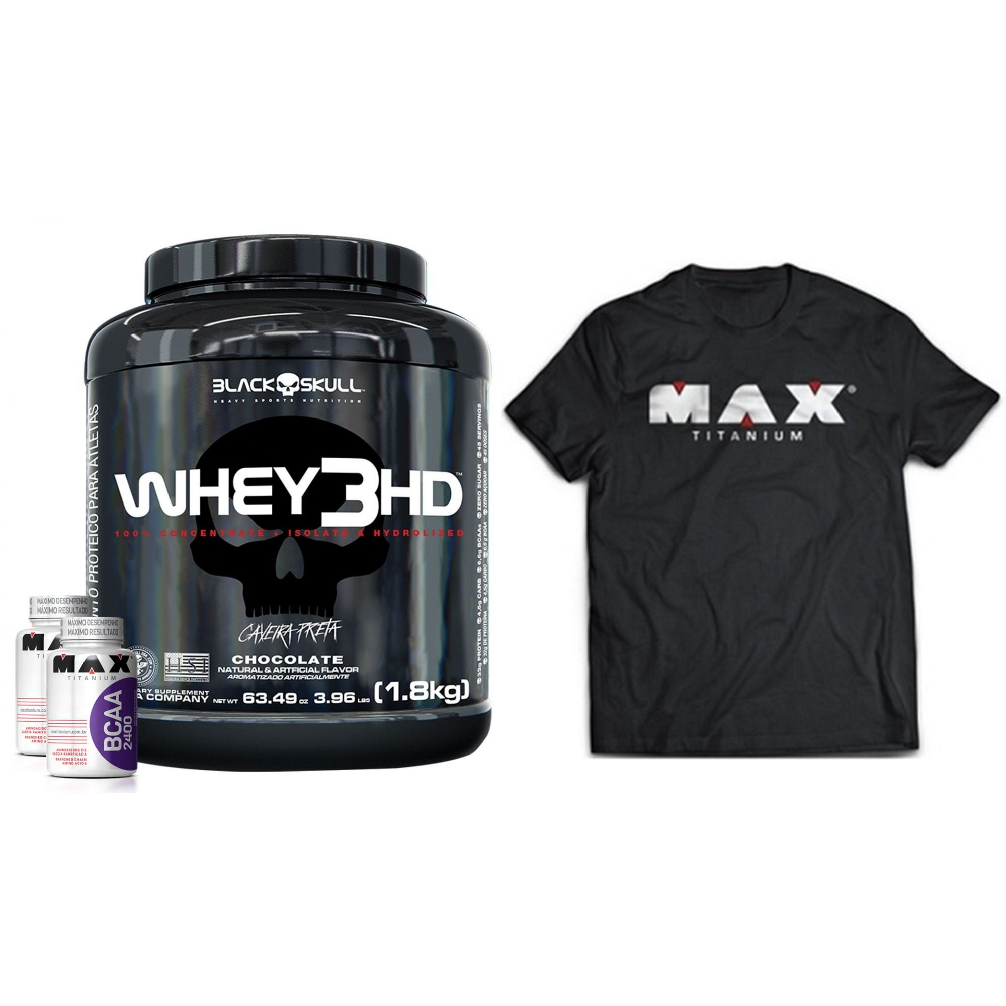KIT: Whey 3HD 1,8kg + BCAA 120 Caps + Camisa