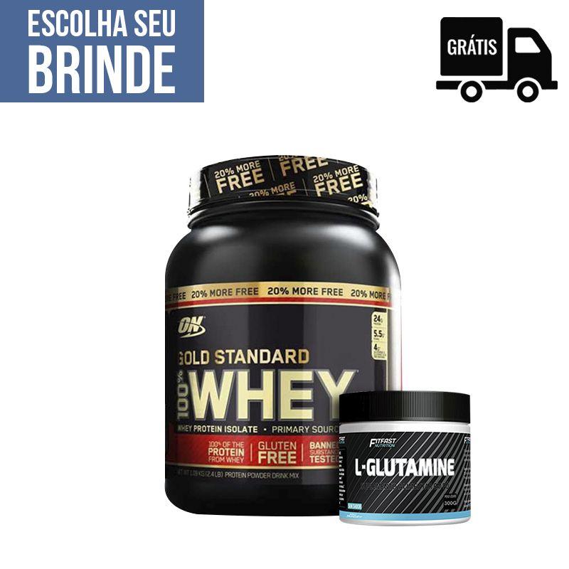 KIT: Whey Gold Standard 1,09Kg + L-Glutamine 300g + Brinde