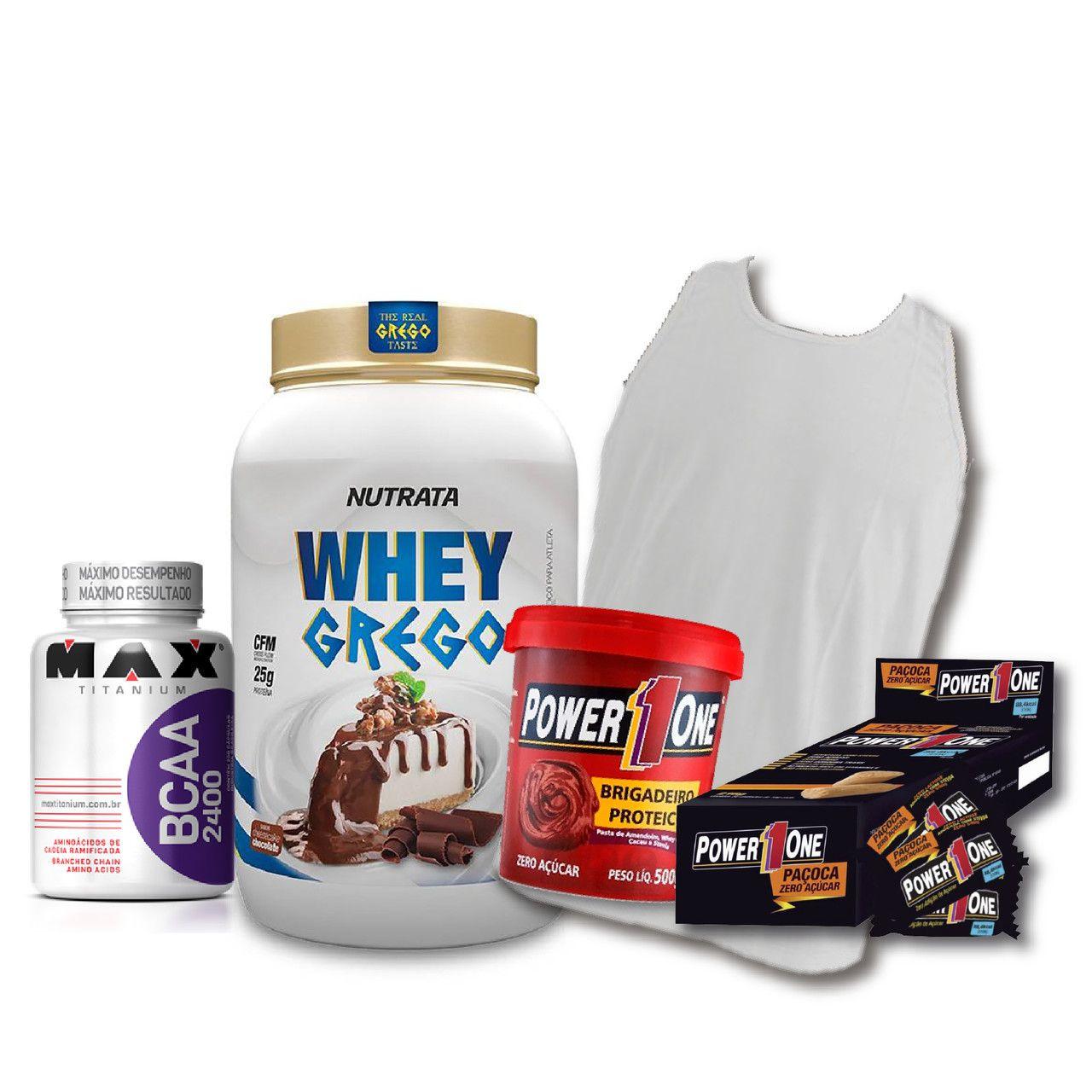KIT: Whey Grego 900g + Camiseta Probiótica + Pasta de Brigadeiro + Caixa de Paçoca + BCAA 2400