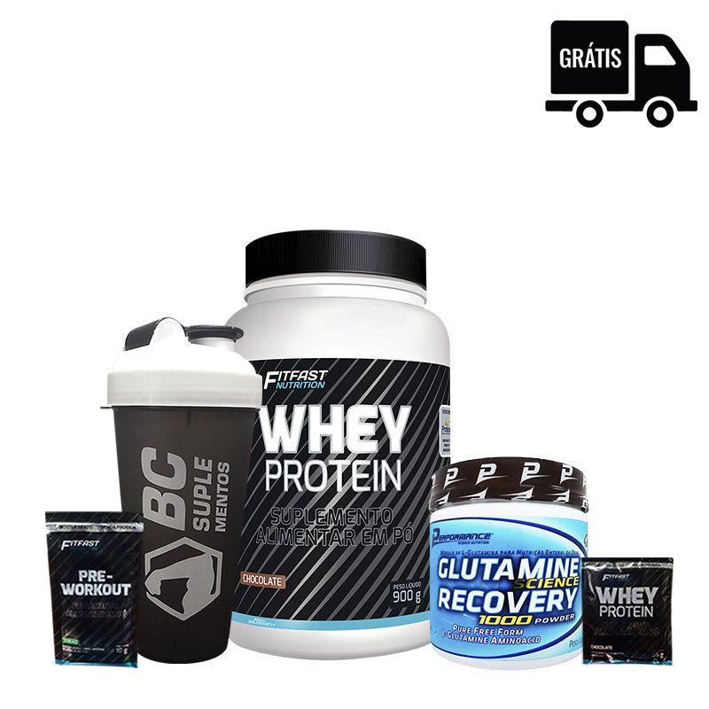KIT: Whey Protein 900g + Glutamina 300g + Sachês + Coqueteleira