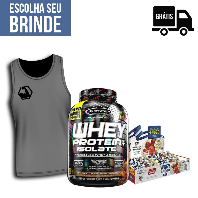 KIT: Whey Protein Plus Isolate Hydrolyzed 2,72Kg + 12x Grego Bar + Regata BC + Brinde