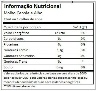 Molho Cebola e Alho 300ml - Mrs. Taste