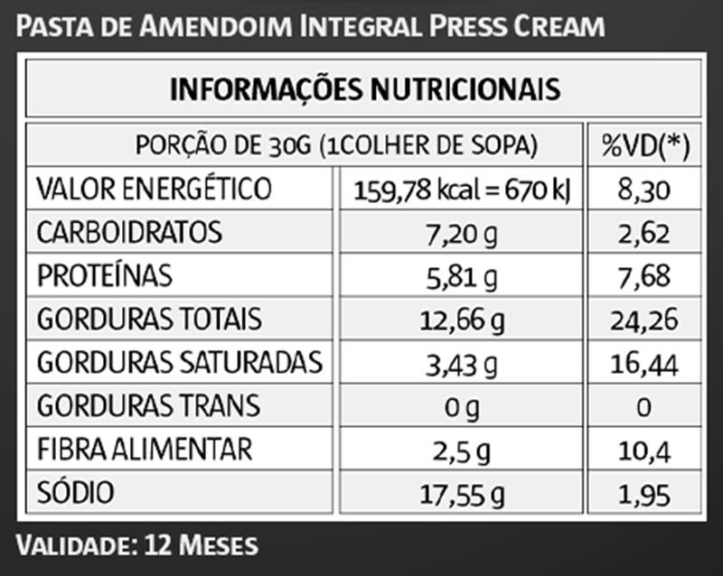 Pasta de Amendoim Prestígio Press Cream 1,005Kg - VITAPOWER