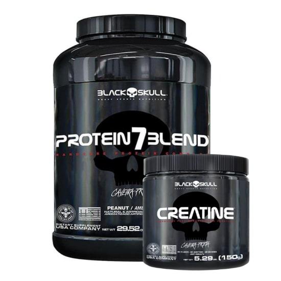 Protein 7 Blend 837g + Creatina 150g - Black Skull