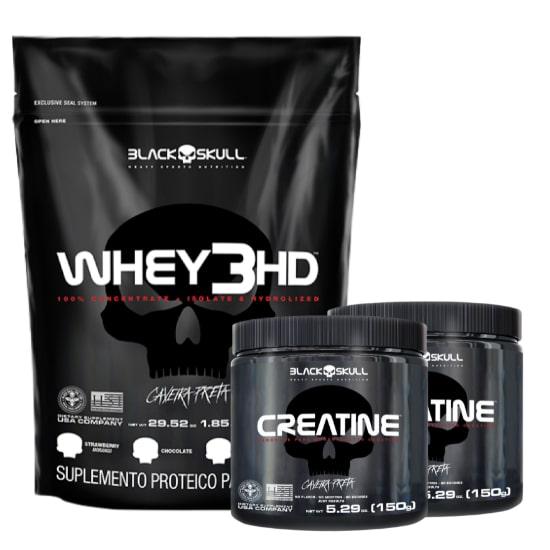Whey 3HD 837g + 2x Creatina 150g - Black Skull