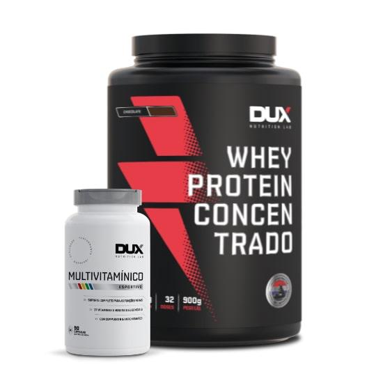 Whey Protein Concentrado 900g + Multivitaminico 90 Caps - Dux Nutrition