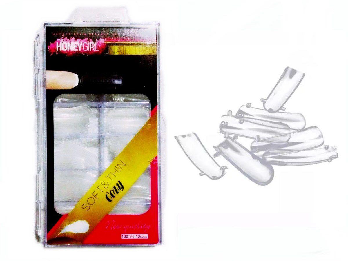 100 Moldes Tips Reutilizável Unha Porcelana Acrigel Modelo F1
