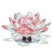 Diamante Flor De Lotus Joia De Cristal Foto Unha Vermelho