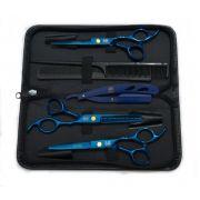 Kit 3 Tesoura Azul Fio Laser Fio Navalha Desfiadeira + Navalha + Estojo