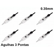 Kit 50 Agulhas Easy Click Para Micropigmentação 3 Pontas