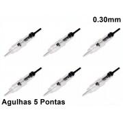 Kit 50 Agulhas Easy Click Para Micropigmentação 5 Pontas