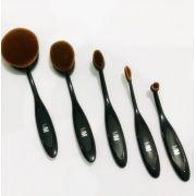 Kit 5 Pinceis Escova Oval MakeUp Magic Make Preto