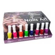 Kit 8 Esmaltes Love Yes Decorativo Unha Nail Art Pen Brush Color