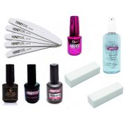 Kit Blindagem Unha Gel Top Coat Ultrabond Primer Sem Ácido Esmalte Prep 250ml Honey Girl