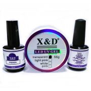 Kit Unha Gel Top Coat 15ml + Primer 15ml + Gel Clear Led Uv 56gr X&D