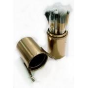 Kit Com 12 Pincéis Pincel + Case Copo Excelente Qualidade Dourado