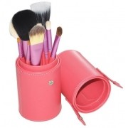 Pincel Maquiagem Profissional Kit C/ 12 Rosa