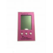 Termo-higrômetro Rosa Digital Termômetro Higrômetro Relógio HC 201
