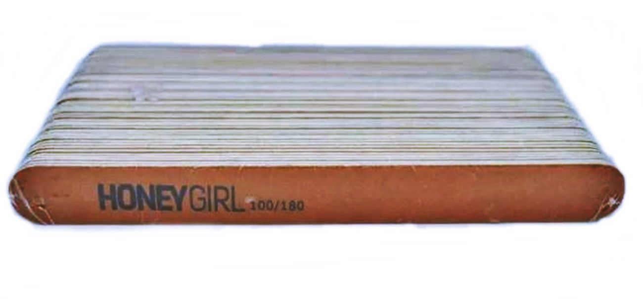 50 Lixas Reta Fina Marrom Para Unha Em Gel Honey Girl 100/180