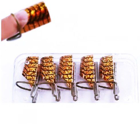 5 Moldes Reutilizável Para Unha Gel e Porcelana Dourado