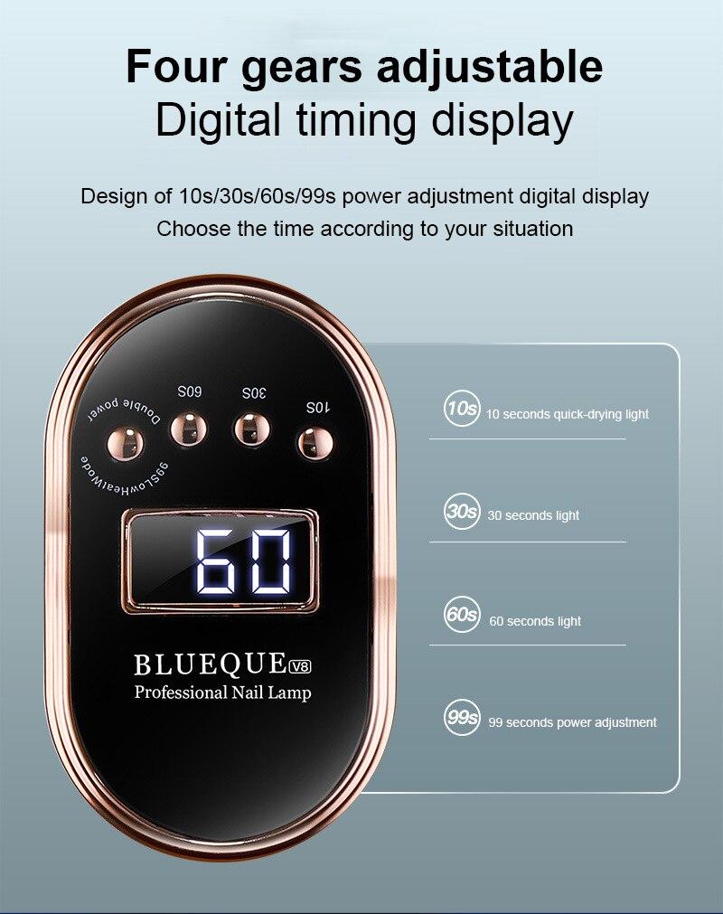 Cabine Led Uv Blueque V8 Digital Timer Sensor Bivolt 168w