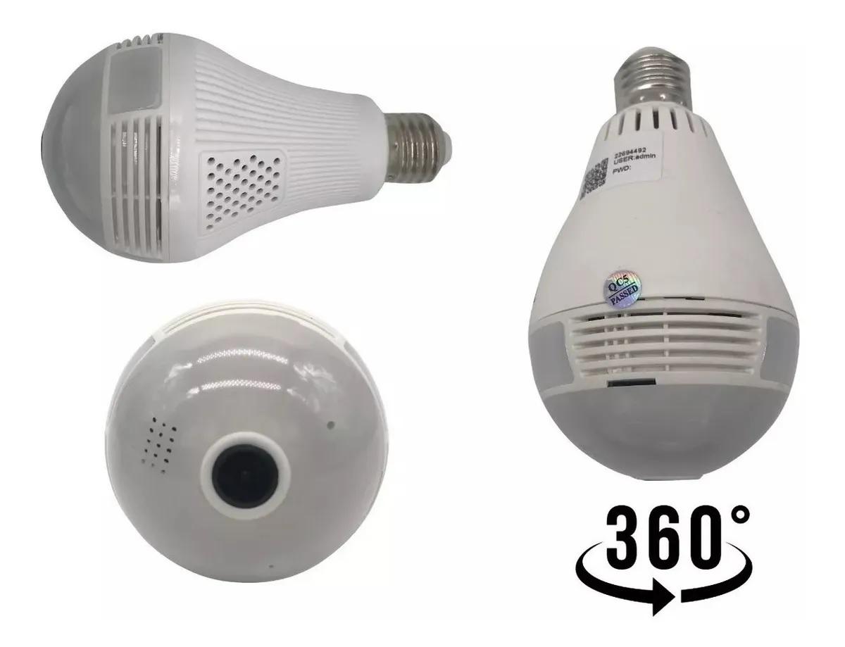 Câmera Ip Segurança Lâmpada Vr 360 Panorâmica Visão Noturna