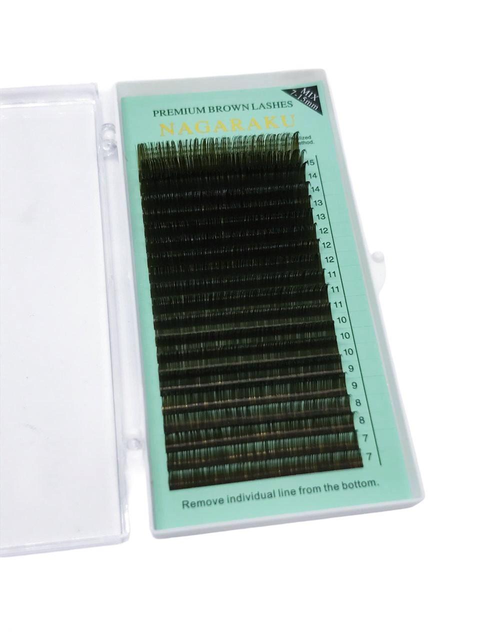 Cílios Nagaraku Extensão 3d Volume Russo 7-15mm Mix Marrom 0.07D