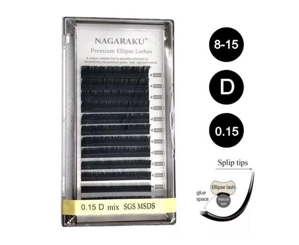 Cílios Nagaraku Tesourinha 0.15 D Mix Fio A Fio Premium Elipse