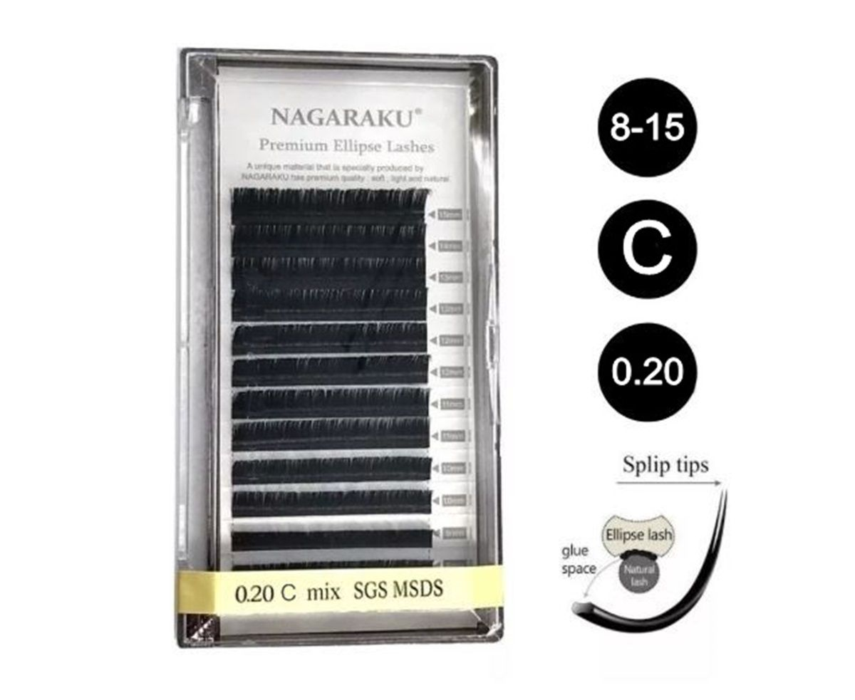Cílios Nagaraku Tesourinha 0.20 C Mix Fio A Fio Premium Elipse