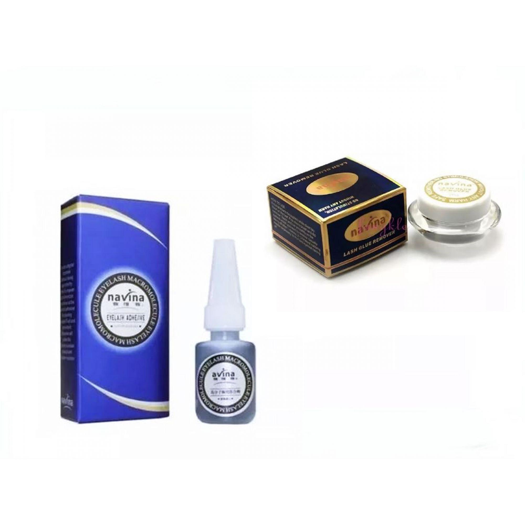 Cola Alongamento De Cílios Navina Azul + Removedor De Cílios Navina