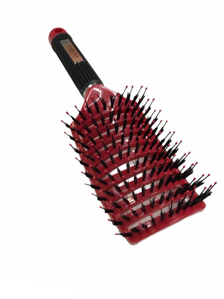 Escova Raquete Vazada Curva Cerâmica Profissional Vermelha