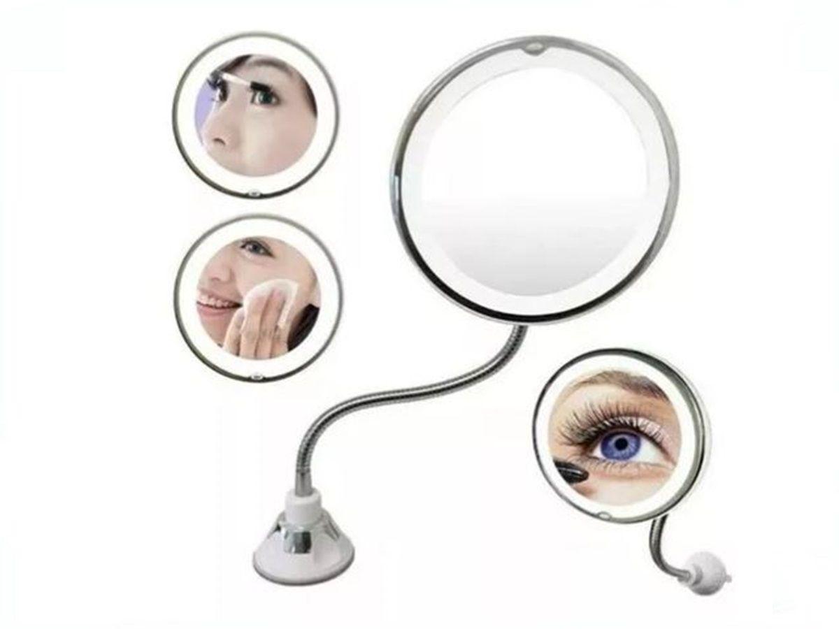 Espelho Led 360 Flexível 10x Aumento Ventosa Parede Maquiagem Barba