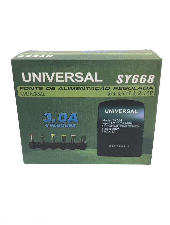 Fonte Universal Regulada 3.0a 34,5.6.7,5 9.12v 6 Plugues