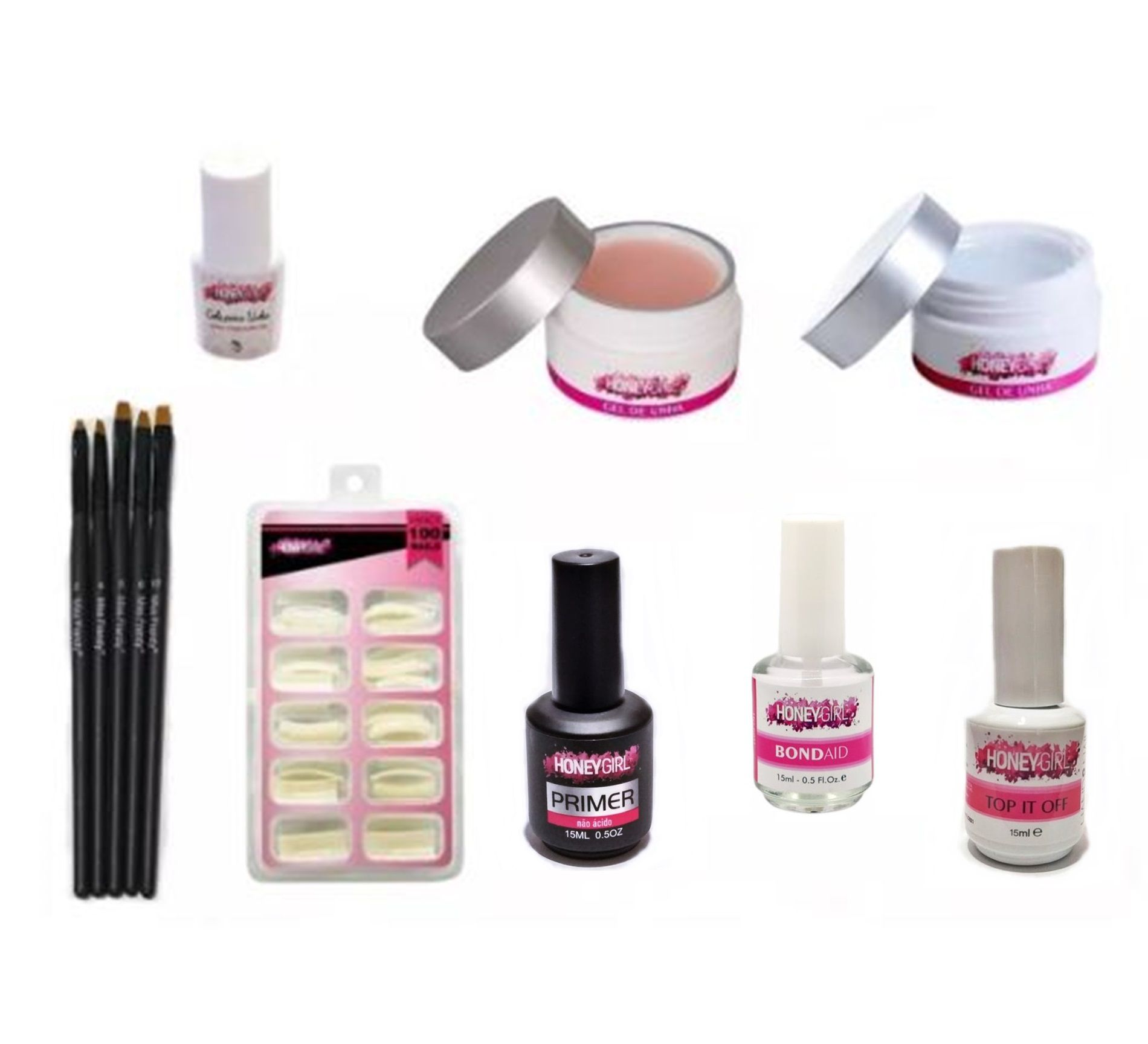 Gel Clear Gel Pink Bond Aid Top Coat Primer Sem Ácido Tips Sorriso Natural