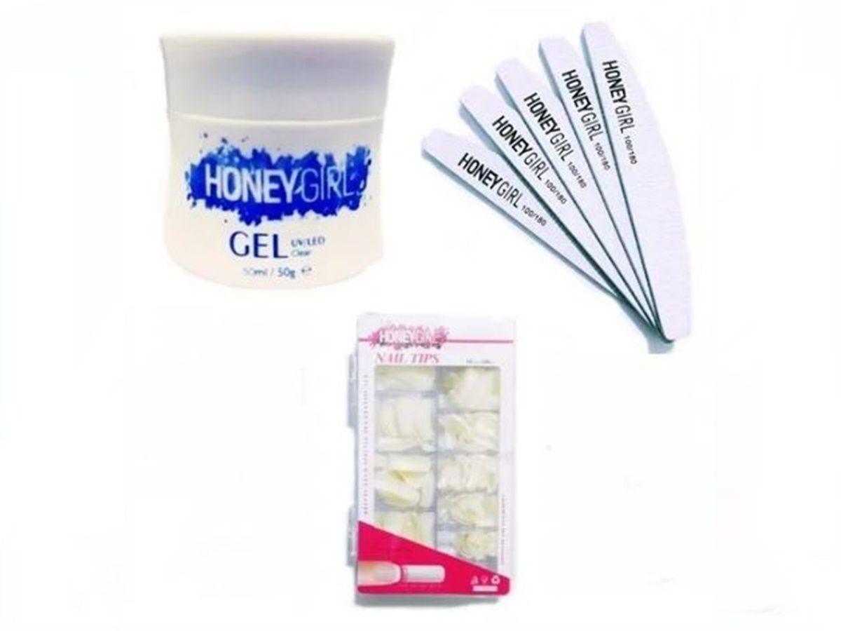 Gel Clear Honey Girl Led Uv 30g 10 Lixas Bananao Tips Sorriso Natural Cx
